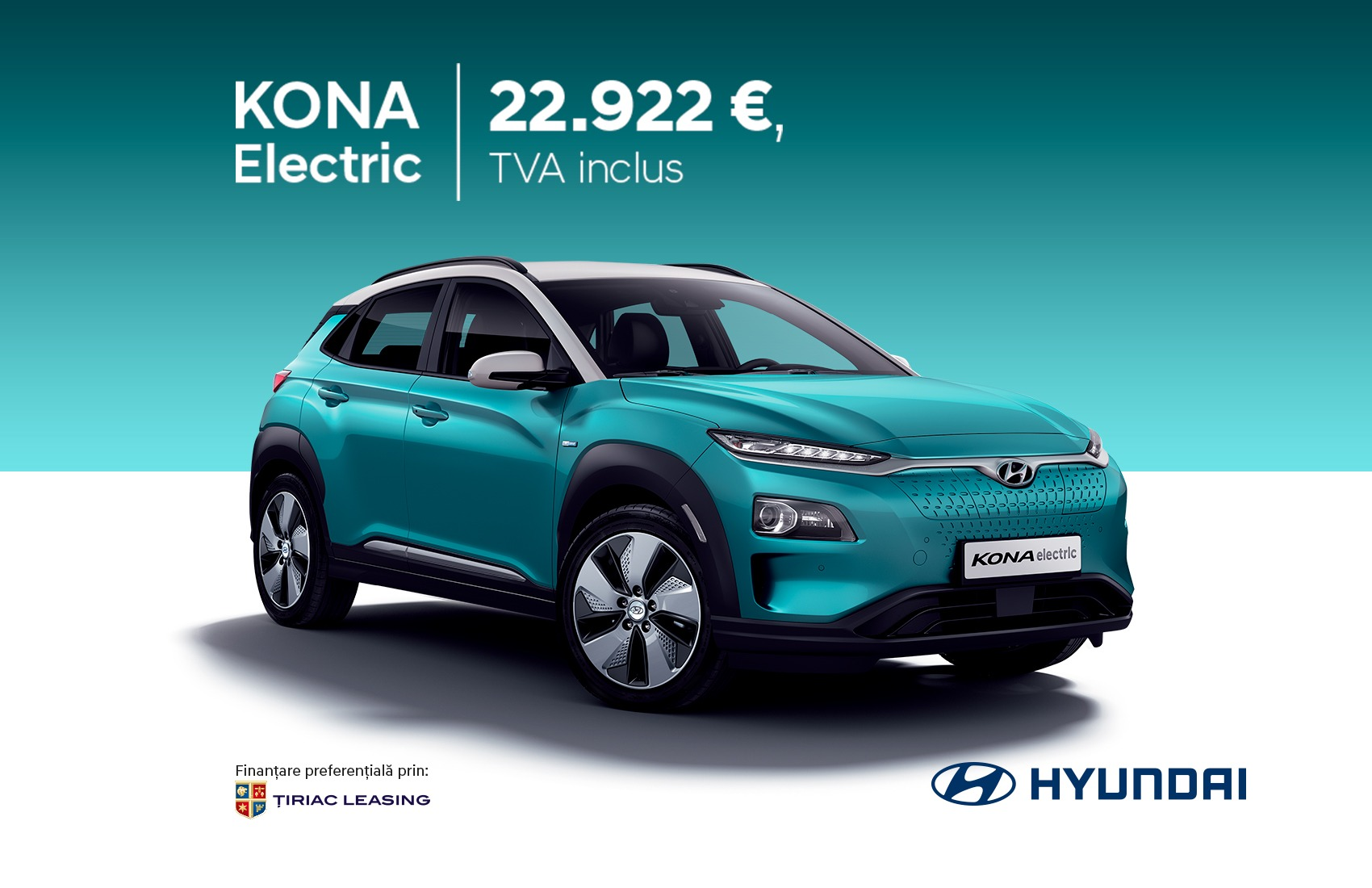 KONA ELECTRIC - 22.922 €, TVA inclus prin Programul REMAT